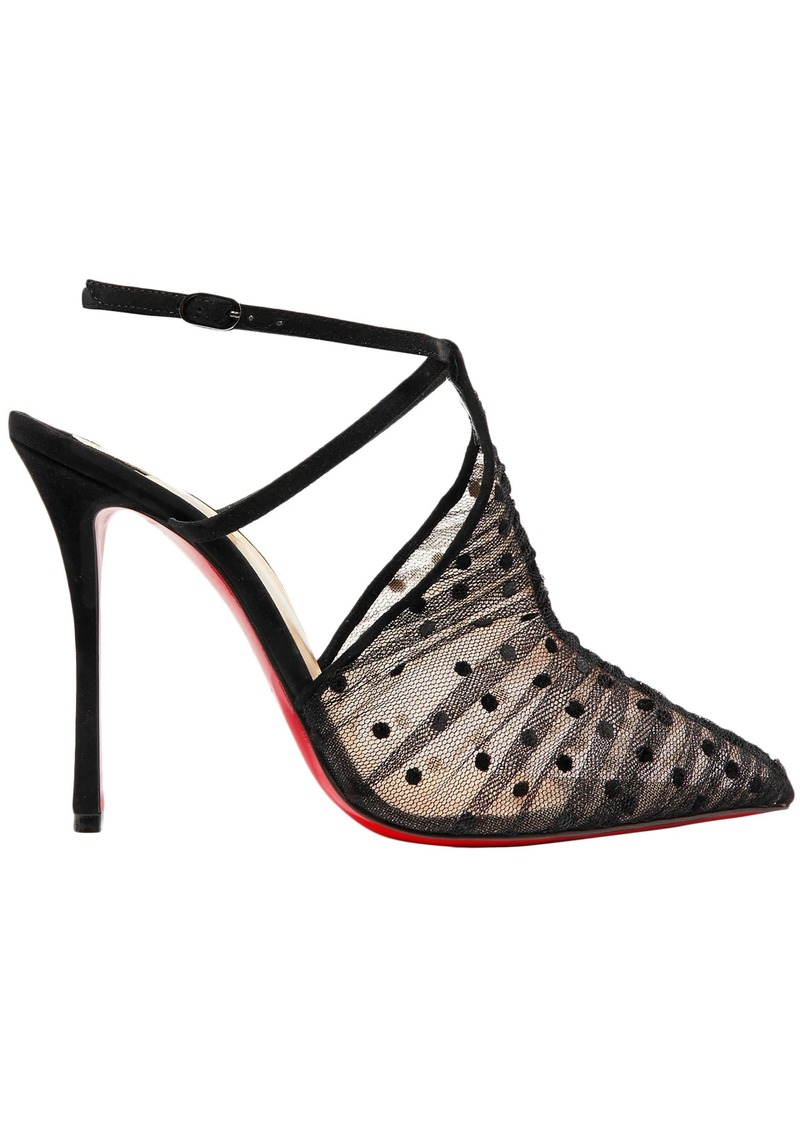 Christian Louboutin Woman Acide Lace 100 Flocked Tulle And Suede Pumps Black