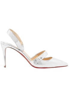 Christian Louboutin Woman Actina 85 Metallic Lizard-effect Leather Pumps Silver