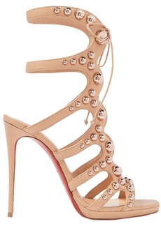 Christian Louboutin Woman Amazoubille 120 Studded Leather Sandals Neutral