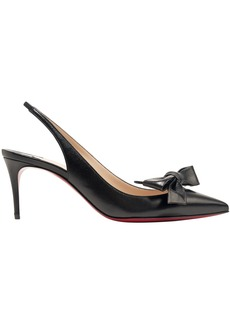 Christian Louboutin Woman Bow-embellished Leather Slingback Pumps Black