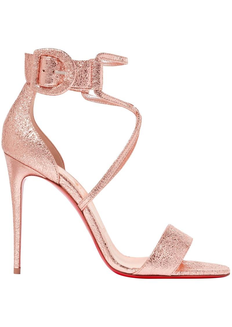 Christian Louboutin Woman Choca 100 Metallic Cracked-leather Sandals Rose Gold