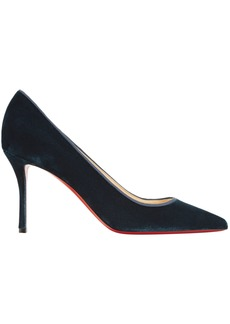 Christian Louboutin Woman Decoltish 85 Grosgrain-trimmed Velvet Pumps Petrol