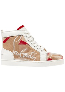 Christian Louboutin Woman Louis Leather And Logo-print Pvc Sneakers Sand