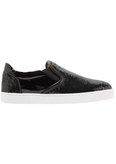 Christian Louboutin Woman Masteral Sequined Patent-leather Slip-on Sneakers Black