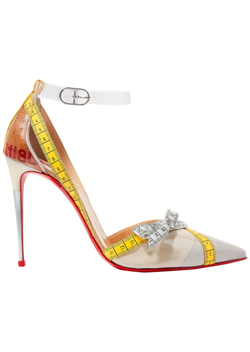 Christian Louboutin Woman Metripump 100 Tape-trimmed Patent-leather And Pvc Pumps Neutral