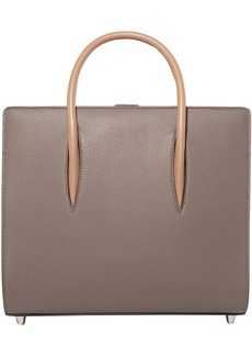 Christian Louboutin Woman Paloma Medium Spiked Textured And Patent-leather Tote Taupe