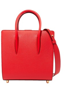 Christian Louboutin Woman Paloma Small Studded Textured And Patent-leather Tote Red