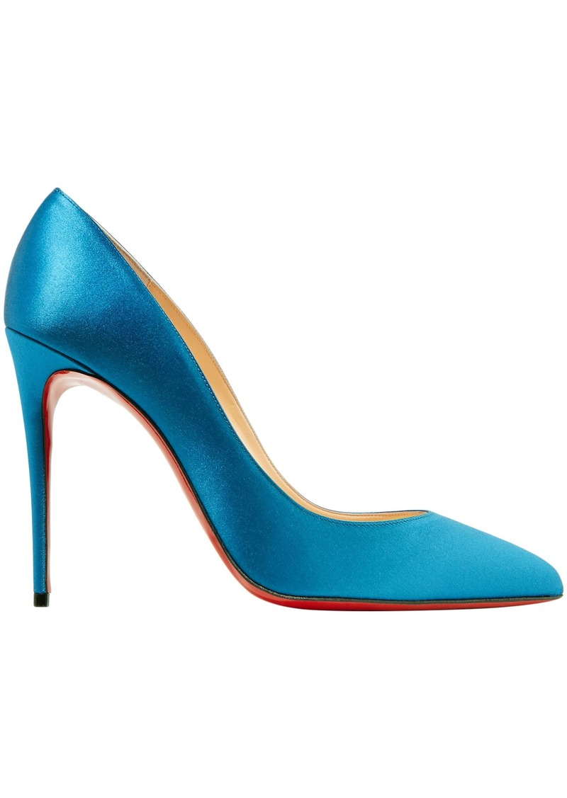 Christian Louboutin Woman Pigalle Follies 100 Satin Pumps Blue
