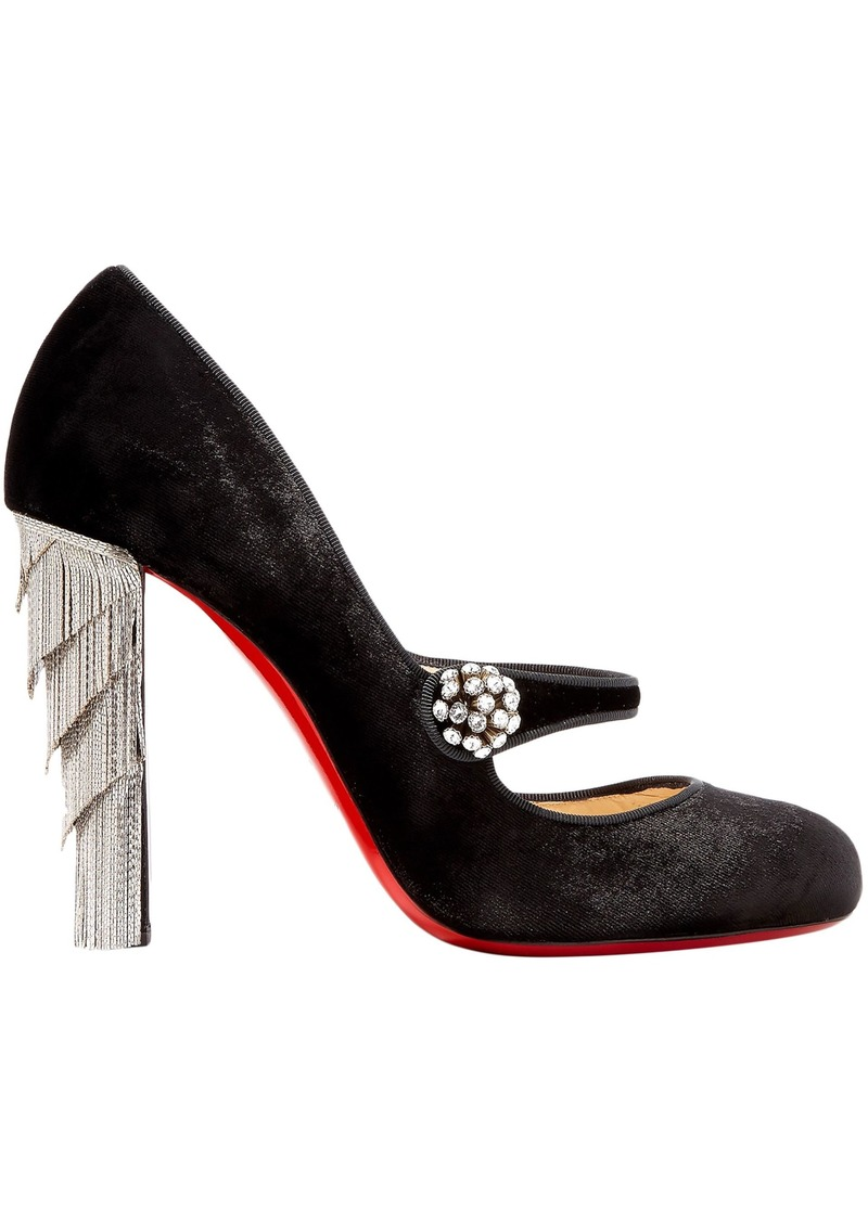 Christian Louboutin Woman Rex 100 Embellished Velvet Mary Jane Pumps Black