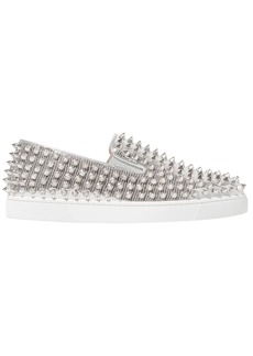 Christian Louboutin Woman Roller Boat Studded Metallic Textured-leather Slip-on Sneakers Silver