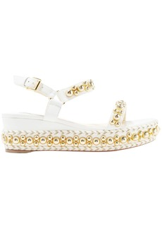 Christian Louboutin Woman Rondaclou 60 Studded Leather Wedge Sandals White