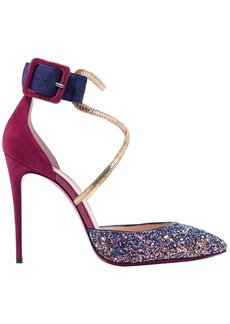 Christian Louboutin Woman Suzanna 100 Leather-trimmed Glittered Suede Pumps Indigo