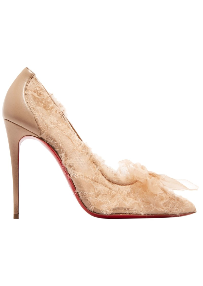 Christian Louboutin Woman Toufrou 100 Bow-embellished Frayed Chiffon Mesh And Leather Pumps Neutral