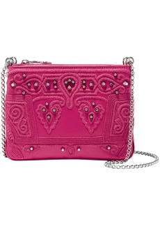 Christian Louboutin Woman Triloubi Studded Embroidered Leather Shoulder Bag Pink