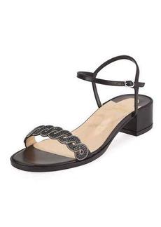 Christian Louboutin Woven Stingray Low-Heel Red Sole Sandal