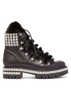 Christian Louboutin Yeti Donna faux fur-trim studded leather boots