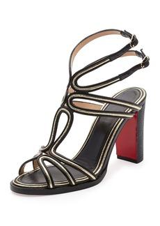 Christian Louboutin Zenobissima Block-Heel Red Sole Sandal
