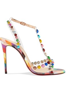 Christian Louboutin Faridaravie 100 Embellished Pvc And Mirrored-leather Sandals