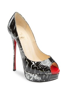 Christian Louboutin Fetish Peep 130 Printed Patent Leather Pumps