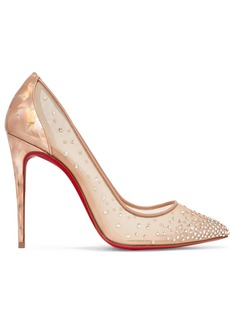 Christian Louboutin Follies 100 Crystal-embellished Mesh And Metallic Leather Pumps