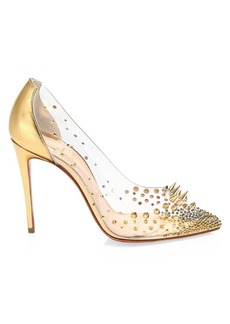 Christian Louboutin Grotika Embellished PVC & Metallic Leather Pumps