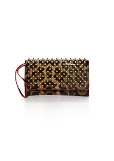 Christian Louboutin Macaron StuddedLeopard-Print Leather Wallet