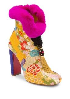 Christian Louboutin May Wong 100 Floral & Rabbit Fur Block Heel Booties
