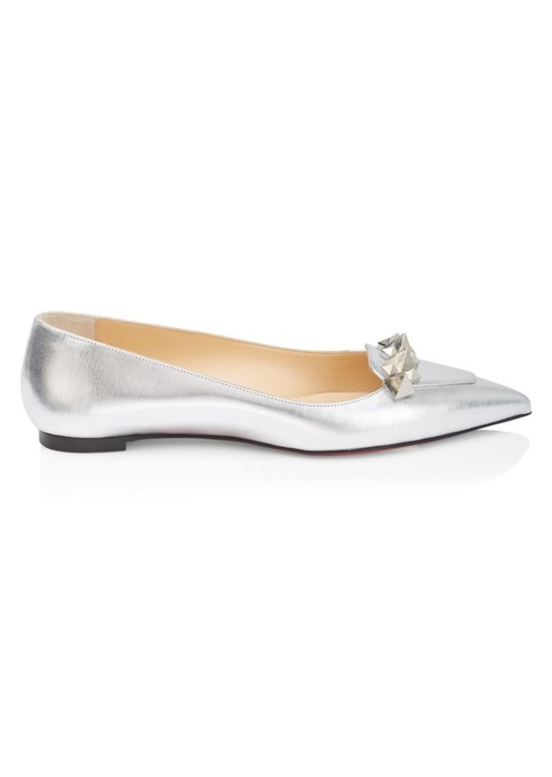 Christian Louboutin Miss Constella Studded Metallic Leather Ballet Flats