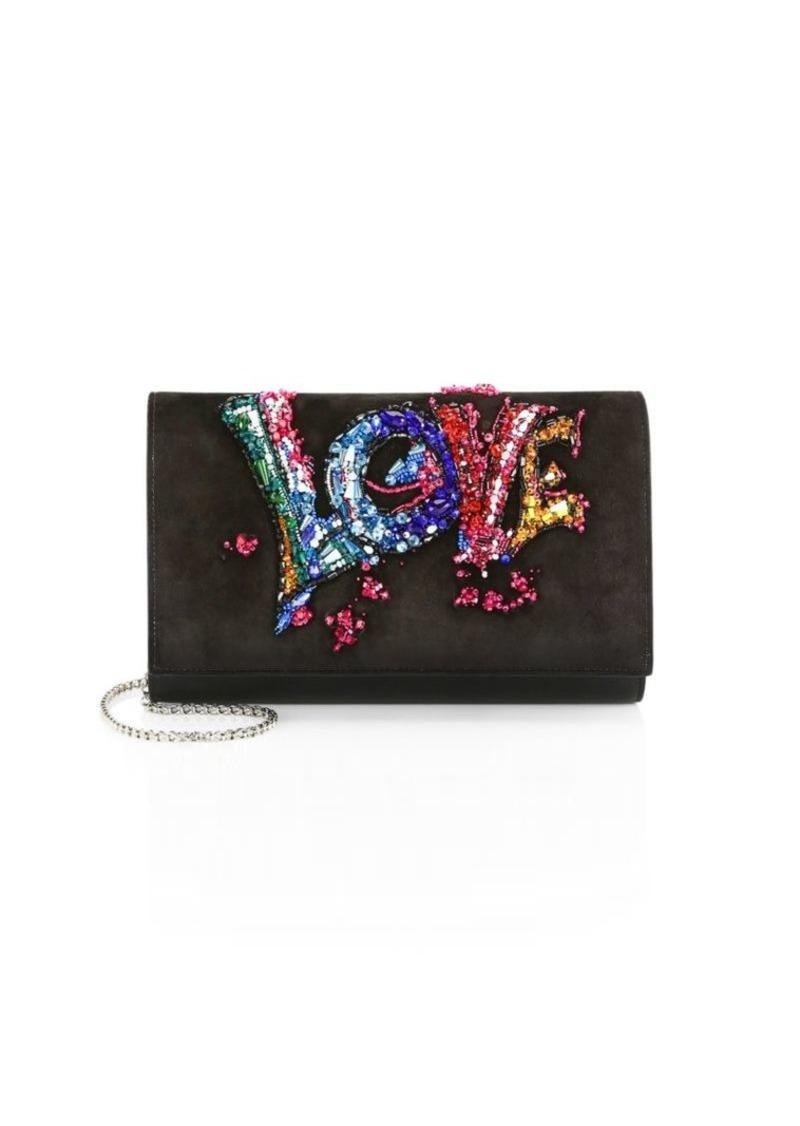 1ef30ec2e6c Christian Louboutin Paloma Suede Love Embroidery Clutch   Handbags