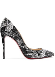 Christian Louboutin Pigalle Follies Nicograf 100 Printed Patent-leather Pumps