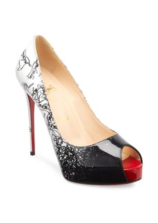Christian Louboutin New Very Prive 120 Degrade Patent Leather Peep Toe Pumps