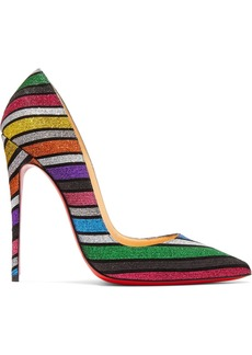 Christian Louboutin So Kate 120 Striped Glittered Suede Pumps
