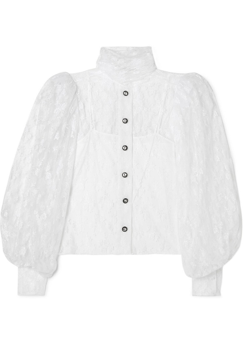 Christopher Kane Button-embellished Chantilly Lace Shirt