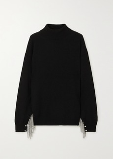 Christopher Kane Chain-embellished Wool Silk And Cashmere-blend Sweater
