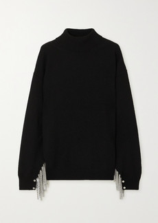 Christopher Kane Chain-embellished Wool, Silk And Cashmere-blend Turtleneck Sweater