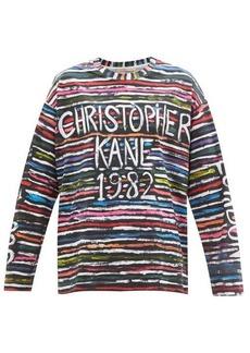 Christopher Kane 1982 striped-logo print cotton-jersey T-shirt