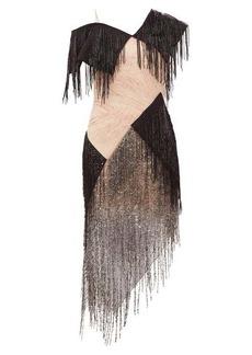 Christopher Kane Asymmetric bead-fringed gauze dress