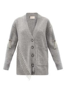 Christopher Kane Asymmetric crystal-embellished wool cardigan
