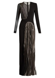 Christopher Kane Asymmetric long-sleeved cady and lamé gown