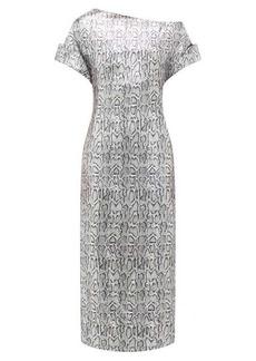 Christopher Kane Asymmetric snake-print sequinned dress