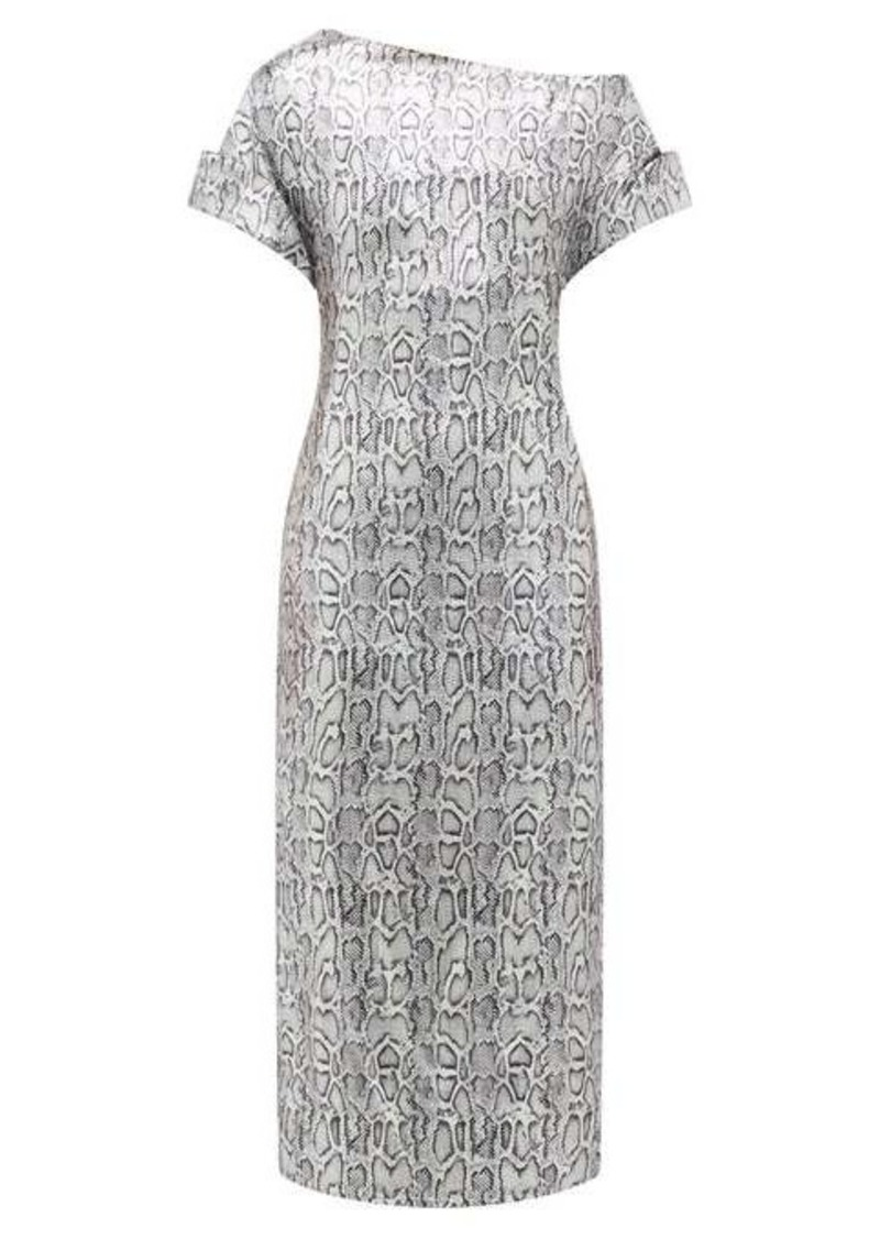 Christopher Kane Asymmetric snake-print sequinned dress