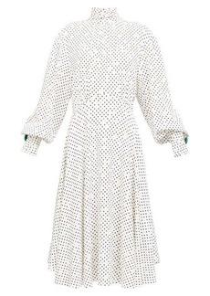 Christopher Kane Bishop-sleeve polka dot midi dress