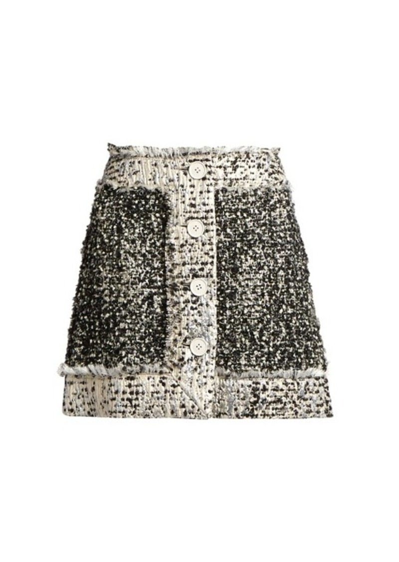 43922b9a9a Christopher Kane Christopher Kane Button-front lamé-tweed mini skirt
