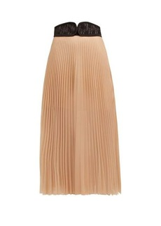 Christopher Kane C-string belt pleated chiffon midi skirt
