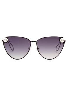 Christopher Kane Cat-eye metal and faux-pearl sunglasses