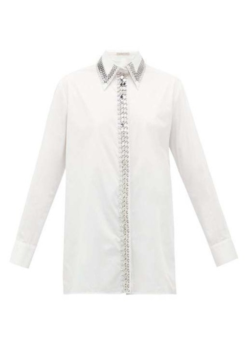 Christopher Kane Chain and crystal-trimmed poplin shirt