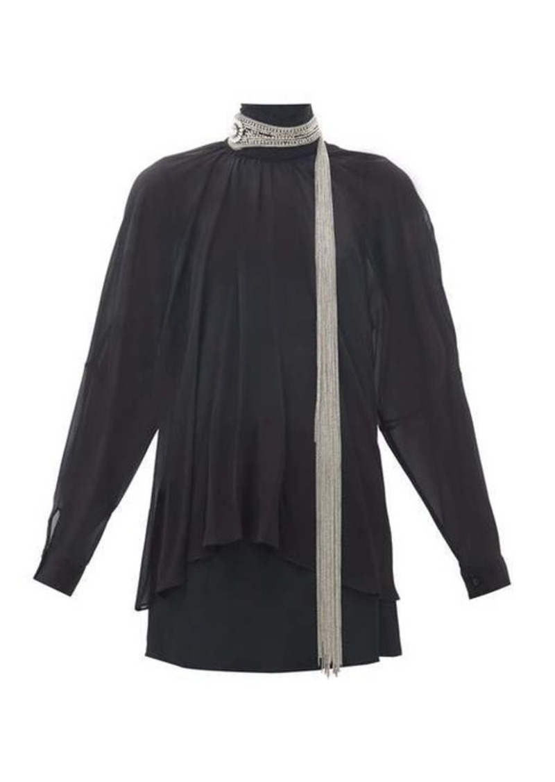 Christopher Kane Chain-embellished silk-georgette blouse