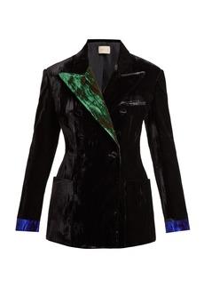 Christopher Kane Contrast-lapel double-breasted velvet blazer