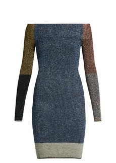 Christopher Kane Contrast-panel metallic-knit dress
