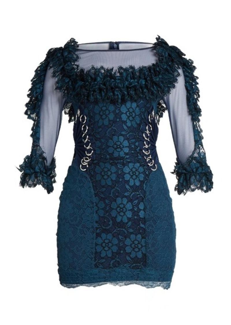 Christopher Kane Contrast-panel ring-embellished lace mini dress